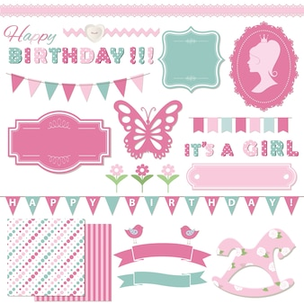 Birthday and girl baby shower design elements set.