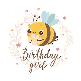 Birthday girl card with bee
