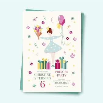Birthday girl invitation template