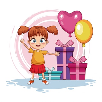 Birthday girl with gifts and balloons