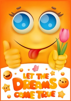 생일 인사말 카드 커버. 노란 미소 이모티콘 만화 캐릭터. 꿈을 이루자