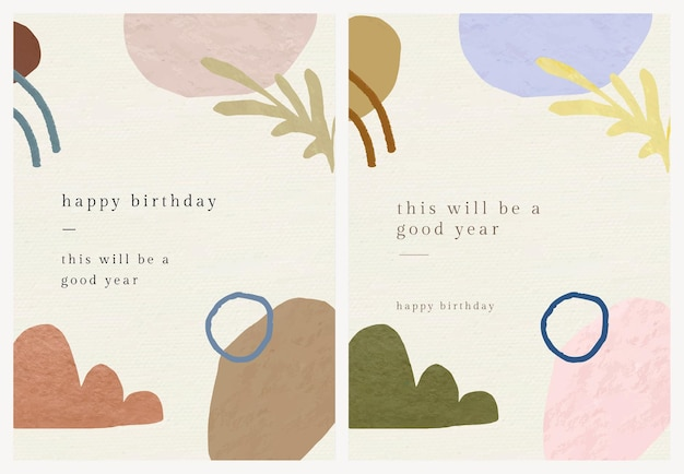 Birthday greeting card template vector with botanical memphis pattern set