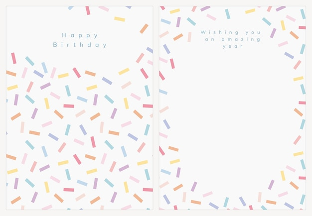 Birthday greeting card template vector with confetti sprinkle set