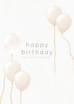 Birthday greeting card template in white gold tone