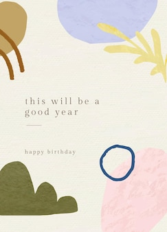 Birthday greeting card template with botanical memphis pattern