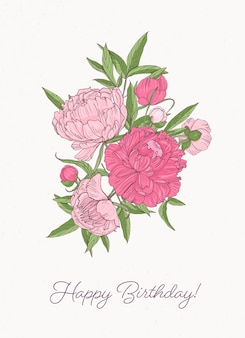 Birthday greeting card template with bunch of gorgeous blooming peony flowers hand drawn on white