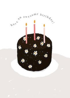Шаблон поздравительной открытки на день рождения с милой иллюстрацией торта