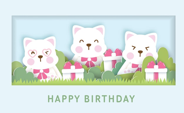 Шаблон поздравительной открытки ко дню рождения с милыми кошками.