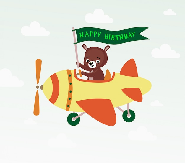 Birthday greeting card with bear on helicopter