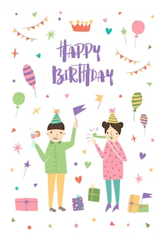 Birthday greeting card with boy and girl wearing cone hats and surrounded by confetti, balloons, festive gifts, flag garlands.