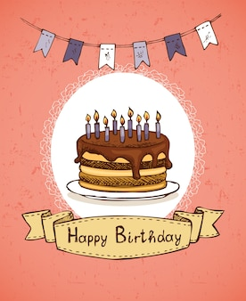 Birthday greeting card with chocolate cake with flags and emblem vector illustration