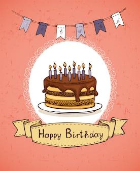 Biglietto di auguri di compleanno con torta al cioccolato con bandiere e illustrazione vettoriale emblema