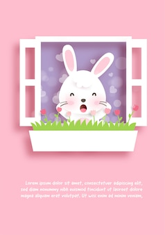 Birthday greeting card with cute rabbit  in paper cut style .
