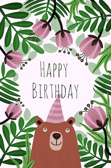 花とクマの誕生日グリーティングカード