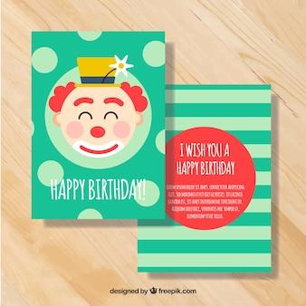 面白いピエロと誕生日グリーティングカード