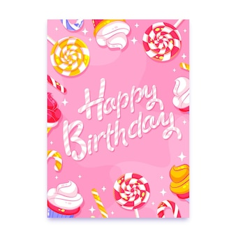 Birthday greeting card with lettering