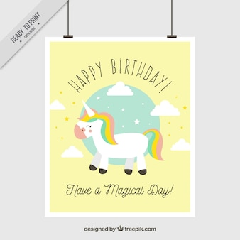 Birthday greeting card with unicorn