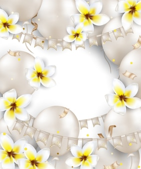 Birthday greeting card with white balloons, plumeria flowers, flag garland, confetti, lights. background for holidays, wedding invitations, party, sales, promotions. .