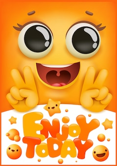 Birthday greeting card. yellow smile emoji cartoon character. enjoy today