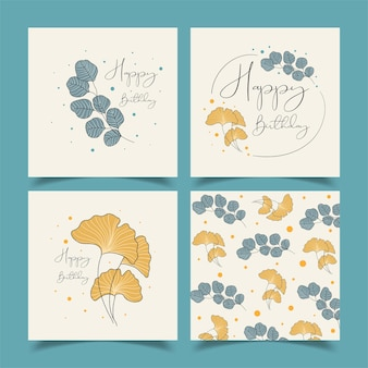 Birthday greeting cards beautifully decorated with lots of flowers.