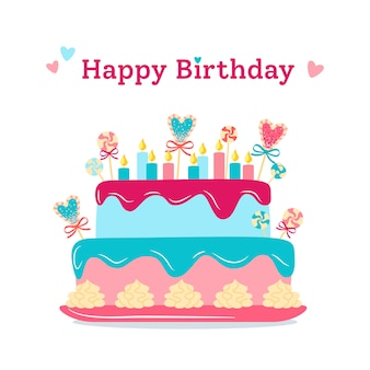 Birthday greeting postcard cake flat pie