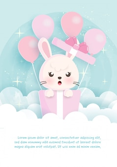Birthday greeting template cards   with rabbit  standing in gift boxes in paper cut style.