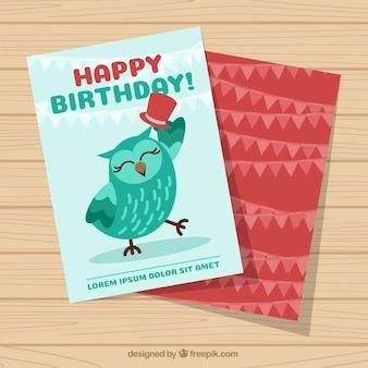 Birthday greeting with nice owl