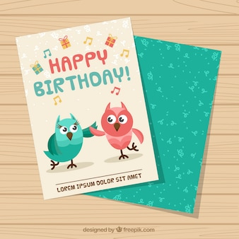 Birthday greeting with owls