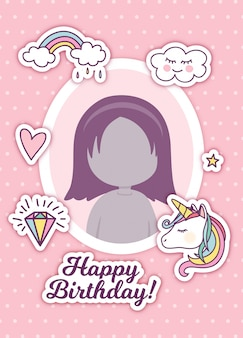 Birthday greeting with photo frame and cute stickers