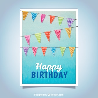 Birthday greeting with watercolor garlands