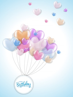 Birthday greetings with 3d realistic heart balloon