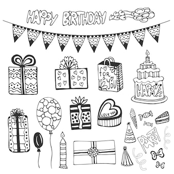 День рождения. набор doodle с тортом дня рождения, подарочной коробкой, воздушными шарами и другими партийными элементами.