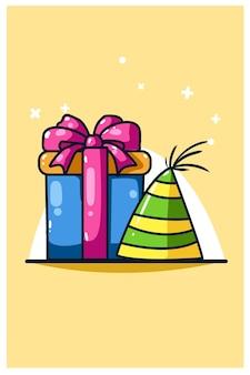 День рождения шляпа и подарок на день рождения значок иллюстрации