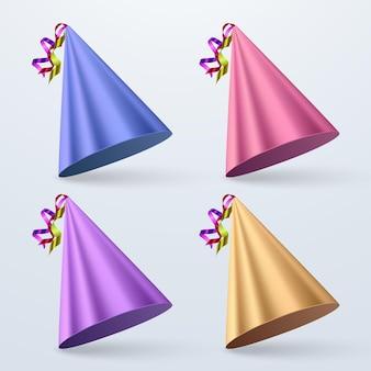 Комплект шляпы дня рождения. набор шляпы партии изолированные