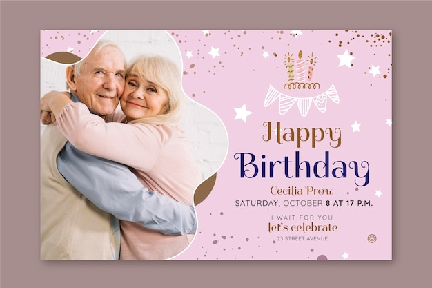 Birthday horizontal banner template design