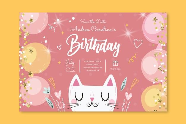 Modello di banner orizzontale di compleanno
