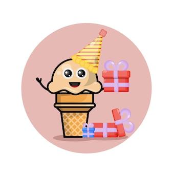 Мороженое на день рождения милый персонаж талисман