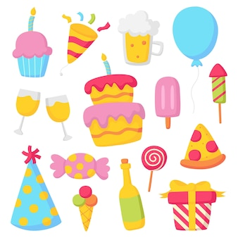 Birthday icons party celebration carnival festive items isolated on white background