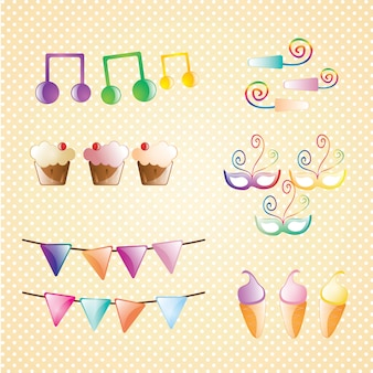 Birthday icons set sweet collection vector illustration