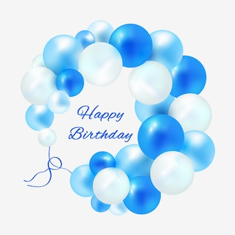 青い風船のフレームの誕生日