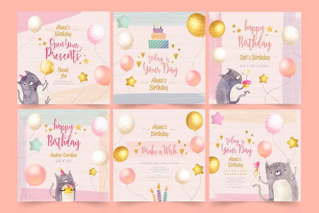 Birthday instagram posts template