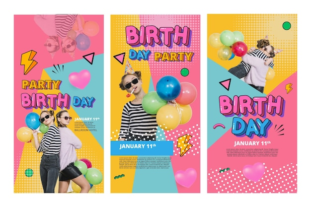 Birthday instagram stories concept