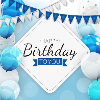 Birthday invitation background with balloons.  illustration