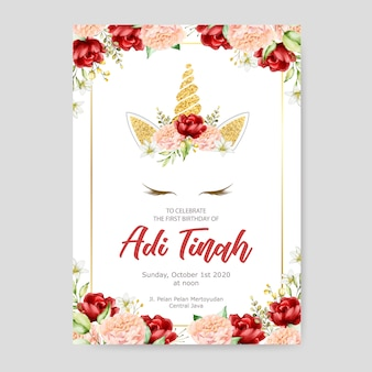 Birthday invitation card template, cute unicorn graphic with flower wreath