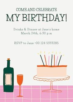 Vettore del modello della carta dell'invito di compleanno con la torta sveglia di scarabocchio