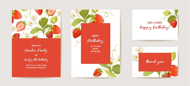생일 초대 카드, 빈티지 식물 저장 날짜 딸기 세트. 과일, 꽃, 잎, 꽃 삽화의 디자인 템플릿입니다. 벡터 유행 표지, 파스텔 그래픽 포스터, 브로셔