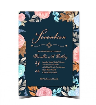 Birthday invitation card with beautiful flowers