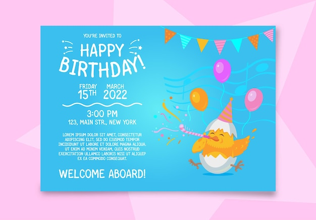Birthday invitation card with a chicken.
