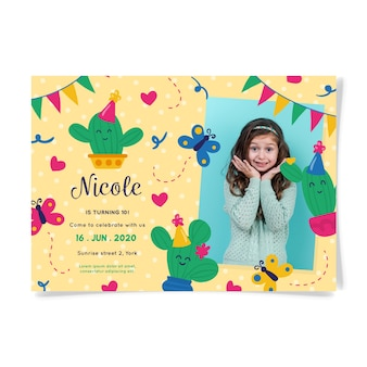 Birthday invitation card with cute girl