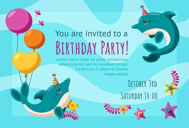 귀여운 작은 돌고래와 불가사리가 있는 생일 초대 카드 풍선이 있는 초대 디자인